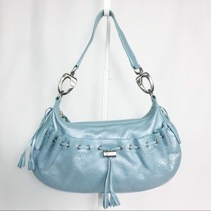 VIA SPIGA LEATHER shoulder bag purse in baby blue